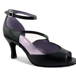 "Merlet SYGNE-Ballroom Shoes 2.5"" Suede Sole Metis Leather-BLACK"