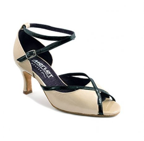 """Merlet SIKITA-Ballroom Shoes 2.5"""" Suede Sole Sumatra Patent Leather-BEIGE/BLACK"""