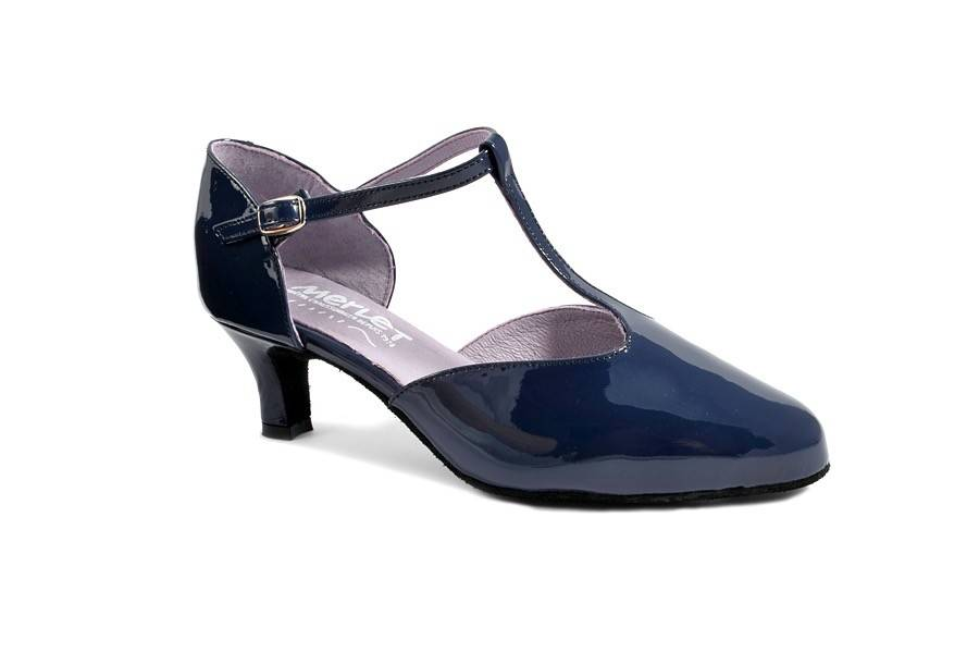 Merlet ADELINA-Ballroom Shoe 2'' Suede Sole Charol Patent Leather-NAVY