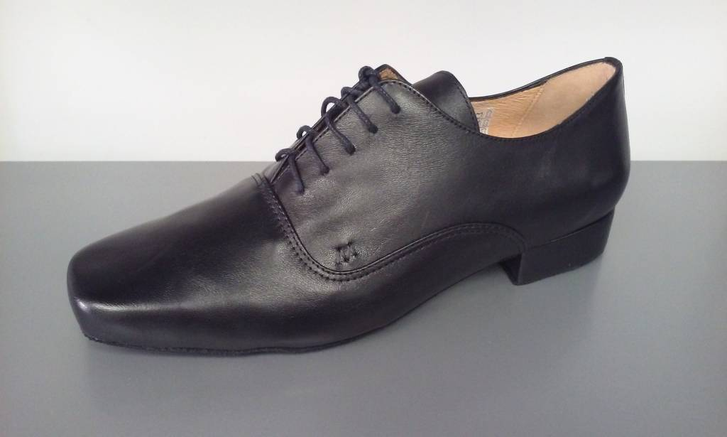 Merlet UDO-1300-001-Ballroom Men Shoes 1'' Suede Sole Metis Leather-BLACK