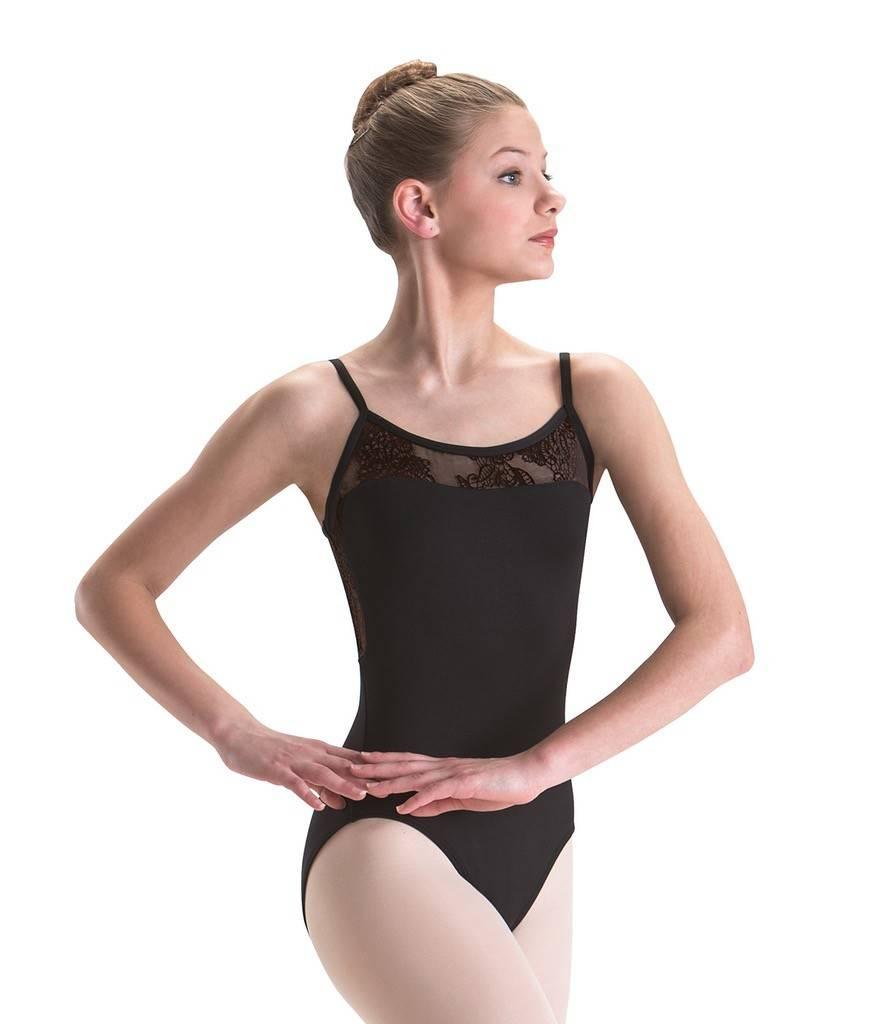 MotionWear 2509-Lace Insert Cami Leotard-PRIYA BLACK