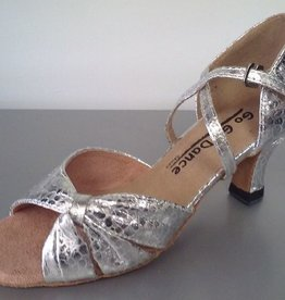 "GOGO / Stephanie Dance Shoes GO1010-Ballroom Shoes 2.5"" Suede Sole-SILVER LEATHER"