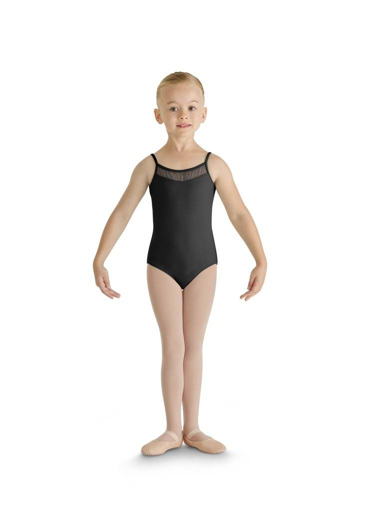 Bloch CL8857Glitter Bow Tulle Front Twin Bow Back Camisole Leotard-BLACK