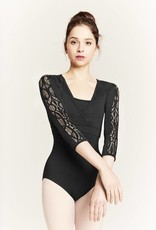 Mirella M7037L-Lace Panel 3/4 Sleeve Mock Warp Top-BLACK