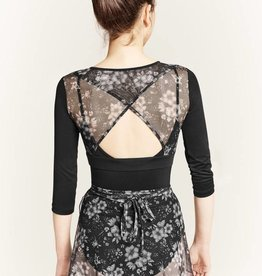 Mirella M7038L-Floral Printed Mesh Warp Back 3/4 Sleeve Top-BLACK