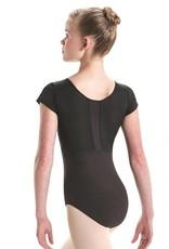 MotionWear 2759-Stripe Back Cap Sleeve Leotard-BLACK