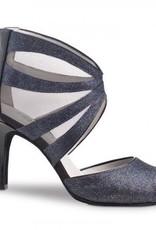 "Anna Kern 766-75-Ballroom Shoes 2.75"" Suede Sole-BROKAT BLUE"