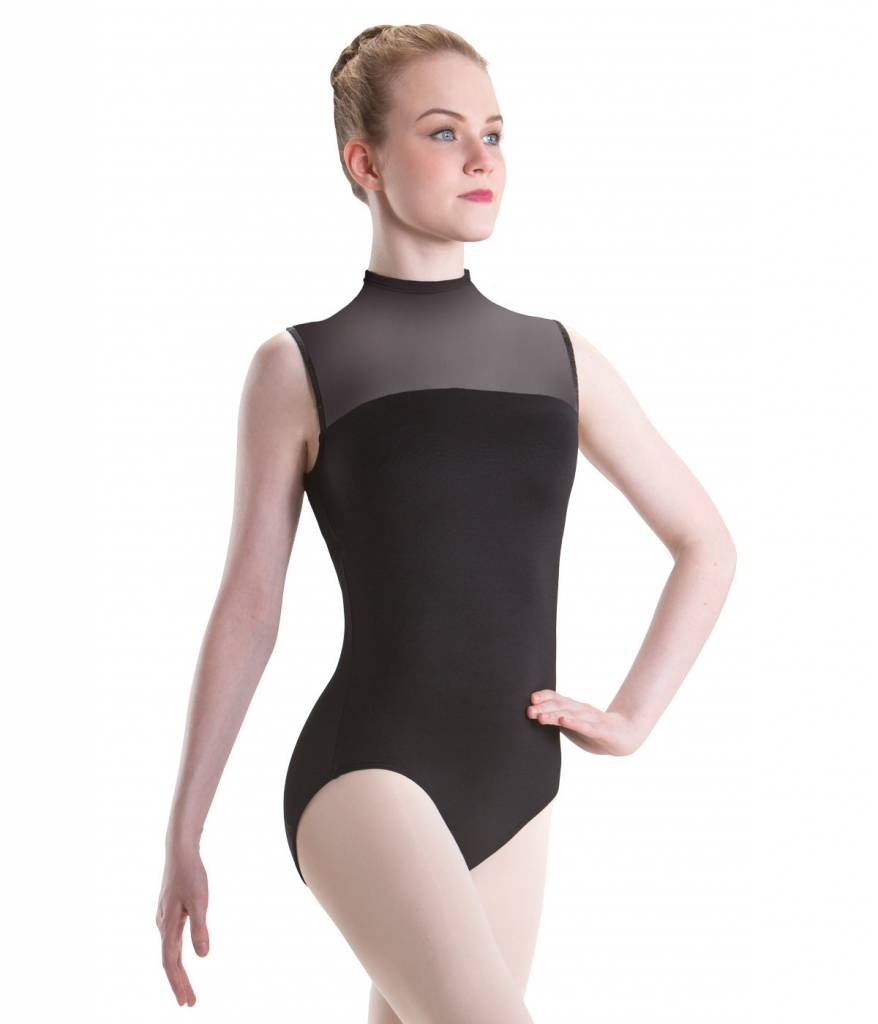 MotionWear 2648-823-Hight Neck Zip Back Leotard With Black Mesh-BLACK