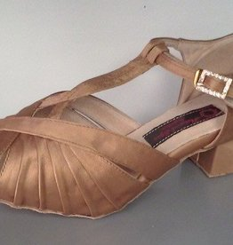 "Natural Spin H1136-26-Ballroom Shoes 1.4"" Suede Sole-TAN SATIN"
