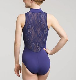 AinslieWear 1062KL-Zip Front Leotard With Kara Lace Back-BLACK-SMALL