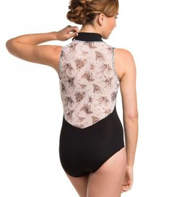 AinslieWear 1062BT-Zip Front Leotard With Botanical Print-BLACK