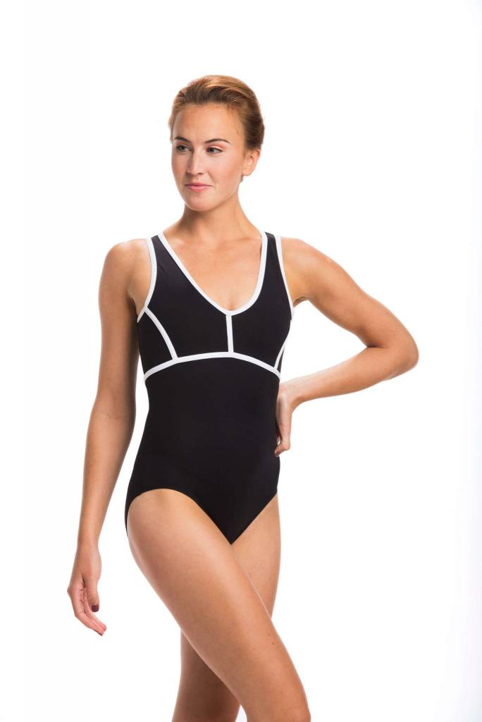 AinslieWear 1023ME-Elie With Mesh And Contrast Trim-BLK/WHT