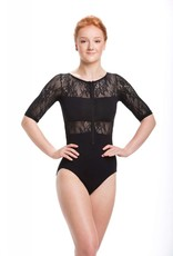 AinslieWear 187KL-Astrid With Kara Lace 3/4 Sleeve leotard-BLACK