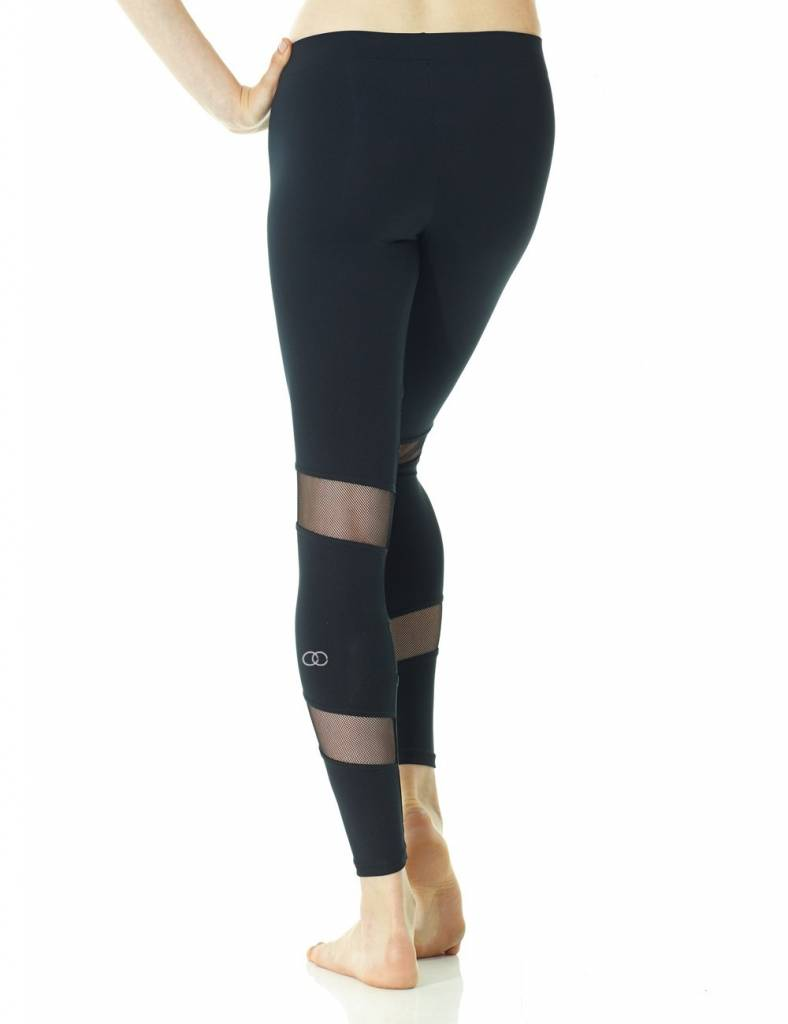 Mondor 3604-Legging With Mesh Inserts-BLACK