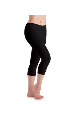 MotionWear 7123-610-Flat Waist Capri Legging DriLine-BLACK