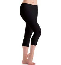 MotionWear 7123-601-Flat Waist Capri Legging Supplex-BLACK