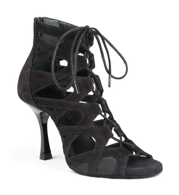 Portdance PD804 NET-Ballroom Shoes 3.2'' Suede Sole Nubuck-BLACK