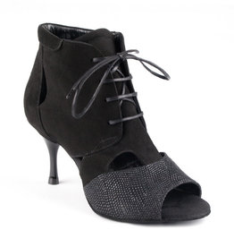 """Portdance PD809-Ballroom Shoes 2.2"""" Suede Sole Leather Suede-BLACK"""