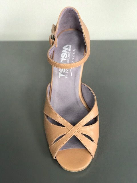 "Merlet SAPHIR-Ballroom Shoes 2.5"" Suede Sole-TAN LEATHER"
