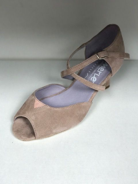 "Merlet DALIA-1399-107-Ballroom Shoes 2"" Suede Sole Velvet Leather-FICELLE"