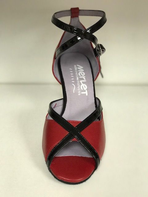 """Merlet SIKITA-Ballroom Shoes 2.5"""" Suede Sole Metis leather-CHERRY"""