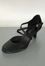 "SoDanca BL156-Ballroom Shoes 2.5"" Suede Sole-BLACK/SATIN"