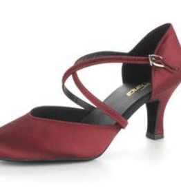 "SoDanca BL156-Ballroom Shoes 2.5"" Suede Sole, BURGUNDY SATIN"