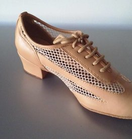 """GOGO / Stephanie Dance Shoes Ballroom Shoes Cuban Hell 1.5"""" Suede Sole-TAN LEATHER"""