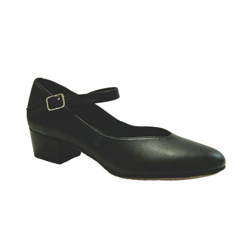 "SoDanca CH08-Cara Character Shoes Cuban Heel Leather Sole 1.25""-BLACK"