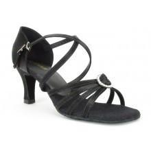 "SoDanca BL130-Ballroom Shoes 2.5"" Suede Sole-BLACK SATIN"