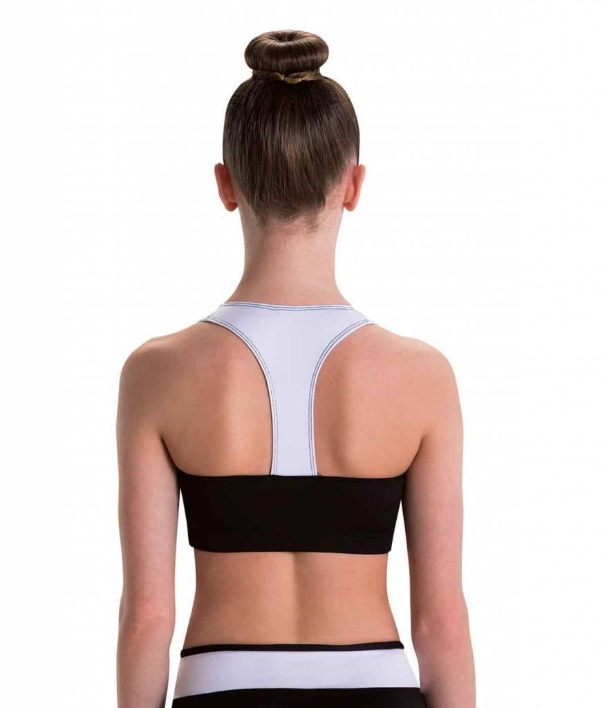 MotionWear 3390-461-T-Back Bra Top-BLK/WHT