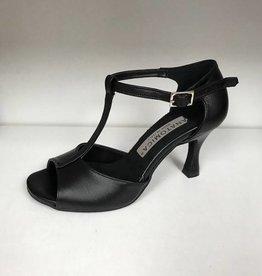 "Anatomica 606-FREYA-Ballroom Shoes 3"" Suede Sole-LEATHER BLACK"
