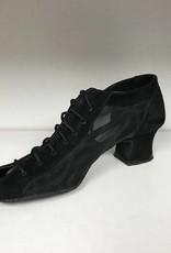 """Anatomica 900-BARBARA-Ballroom Shoes cuban heel 1.5"""" Suede Sole-BLACK SUEDE"""