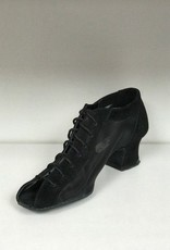 "Anatomica 900-BARBARA-Ballroom Shoes cuban heel 1.5"" Suede Sole-BLACK SUEDE"