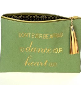 "B Plus 404CC88-Canevas Cosmetic Bags-8 1/2''x 11""-DANCE YOUR HEART OUT!"