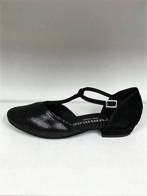 Rummos CAROL-Ballroom Shoes 1'' Suede Sole leather-BLACK