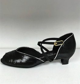 Rummos R517-Ballroom Shoes 1.3'' Suede Sole Leather-BLK/SLV