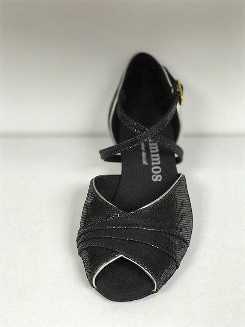 Rummos R517-061-009-40-Ballroom Shoes 1.3'' Suede Sole Leather-BLK/SLV