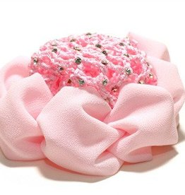 FH2 AZ0033-Jeweled Bun Cover With Clip-PINK