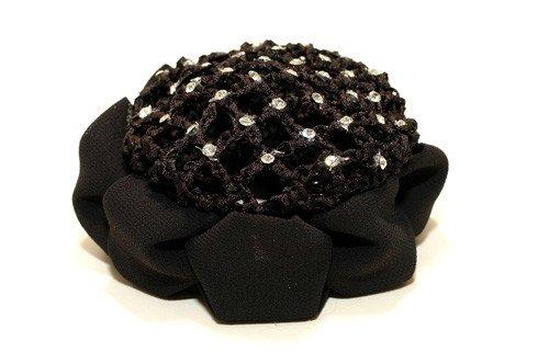 FH2 AZ0033-2 Jeweled Bun Cover With Clip-BLACK