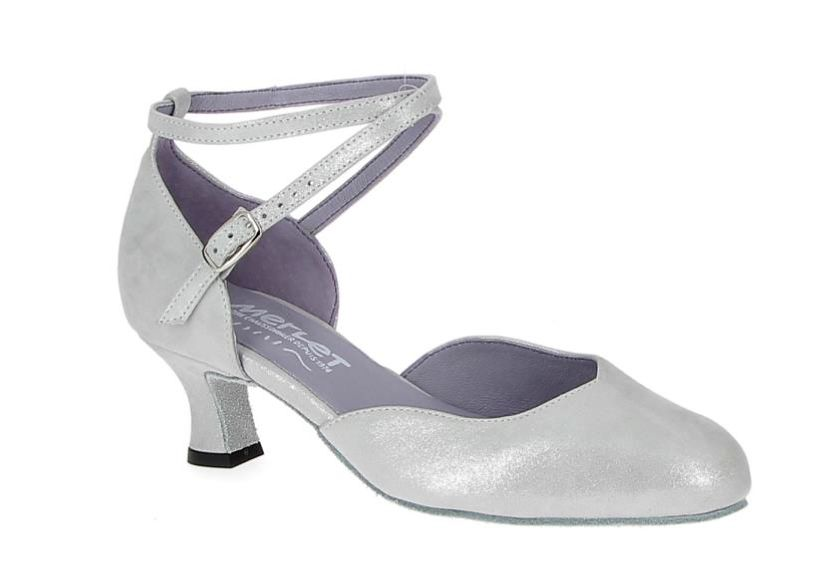 "Merlet BADRAS-1337-903-Ballroom Shoes 1.7"" Suede Sole Puntini Leather-PERLA"