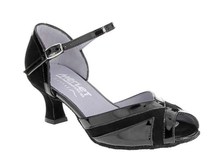 Merlet KALY-1412-001-Ballroom Shoes 2'' Suede Sole Patent Leather-BLACK