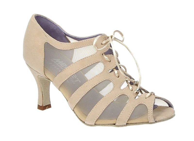 "Merlet SYA-1404-106-Ballroom Shoes 2.5"" Suede Sole Velvet Leather-BEIGE"
