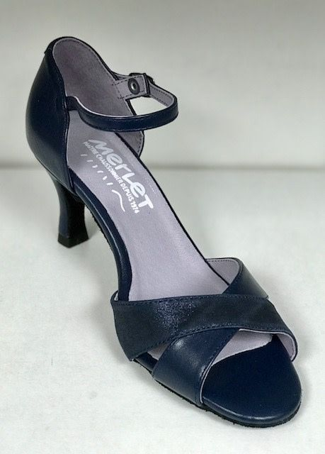 "Merlet SILOE-1300-632-Ballroom Shoes 2.5"" Suede Sole Metis Leather-OCEAN"