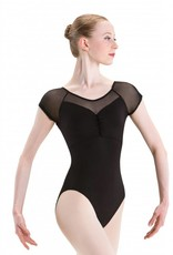 MotionWear 2126-497-Square Pinch Front Cap Sleeve Leo-BLACK