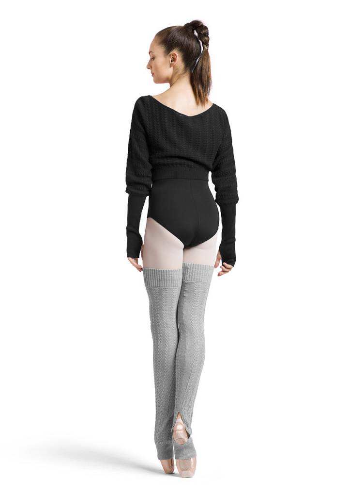 Bloch Z6999-Tabor Textured Knitted Long Sleeve Shrug-BLACK
