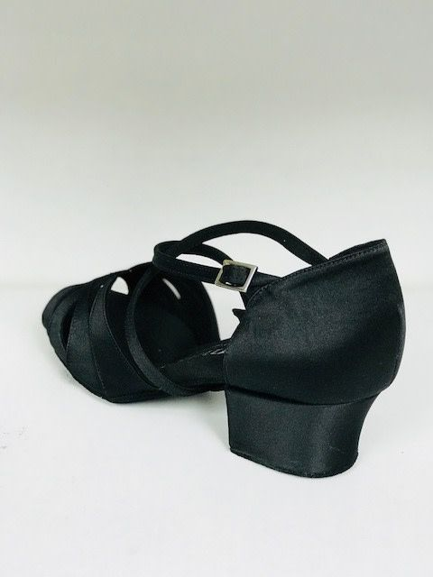 Rummos R150-041-45-Ballroom Shoes 1.5'' Suede Sole-BLACK SATIN