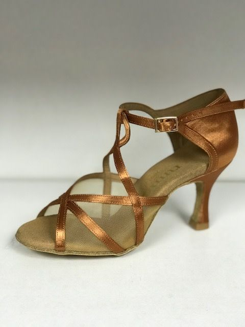 Rummos R365-048-60RR-Ballroom Shoes 2.75'' Suede Sole-TAN SATIN
