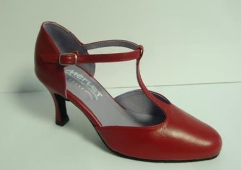 """Merlet NINA-Ballroom Shoes 2.5"""" Suede Sole Metis Leather-CHERRY"""