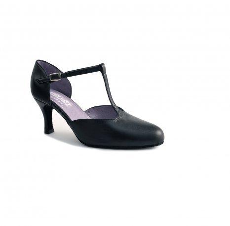 "Merlet NINA-001-Ballroom Shoes 2.5"" Suede Sole Metis Leather-BLACK"